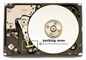 Parked heads of a hard drive